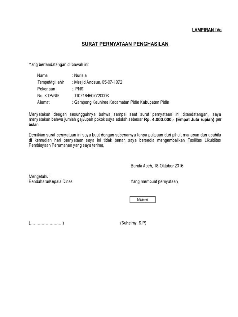 07 Surat Pernyataan Kpr Subsidi Pdf