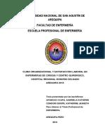 Nuevo Clima Organizacional y Satisfacción Laboral en Enfermeras de Cirugía y Centro Quirúrgicohospital Regional Honorio Delgado Arequipa 2016