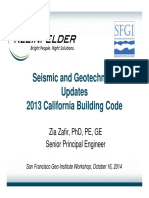 Seismic and Geeotechnical Updates in 2013 CBC