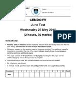 CEM2005W June Test 2015
