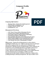 Passion Event Management Profile