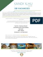 Kandolhu Maldives - Job Vacancies 19022018