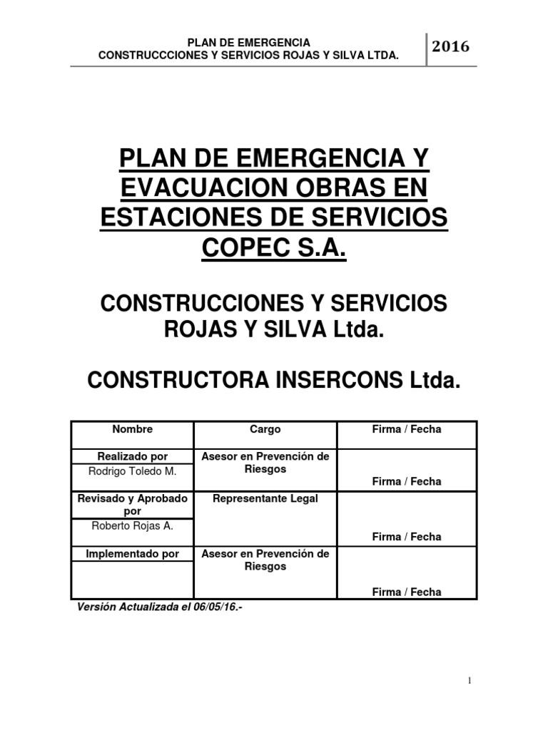 Plan de Emergencia Construcciones y Servicios Rojas y Silva Ltda.
