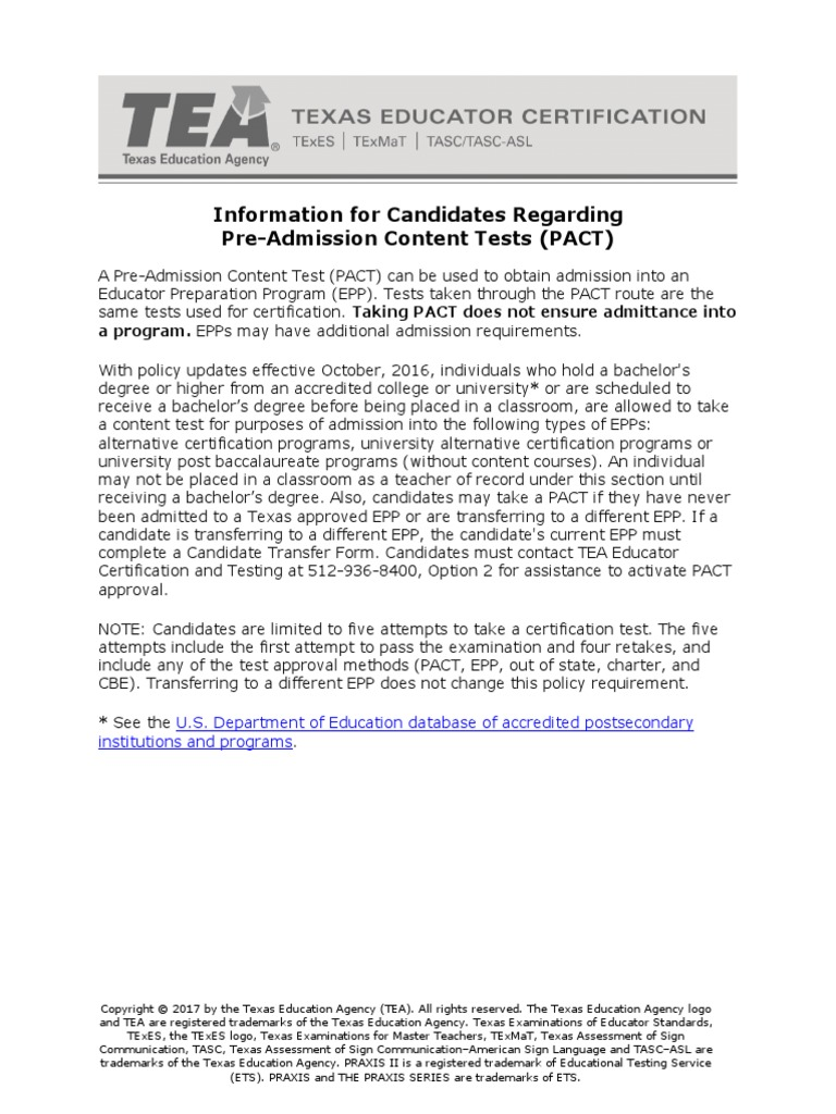 Candidate Information Pact Preadmission Content Tests Teachers