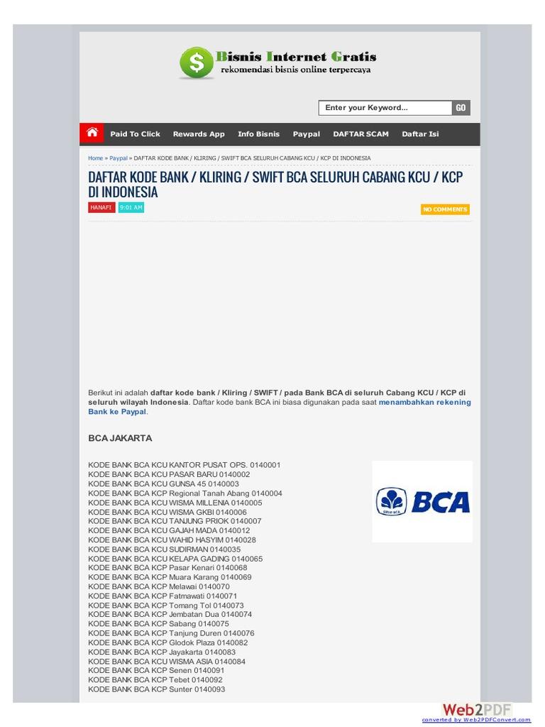 Daftar Kode Ban Kliring Bca
