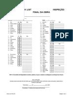 Check List - Inspeção Final Da Obra
