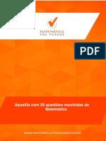 Apostila Com 50 Questaµes Comentadas de Matematica Em PDF