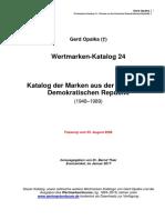 G. Opalka - Wertmarken-Katalog - Wertmarken der DDR