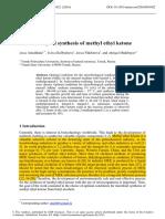 Microbiological Synthesis of Methyl Ethyl Ketone