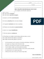 Atividade de Português Orações Subordinadas Adjetivas 9º Ano Modelo Editável