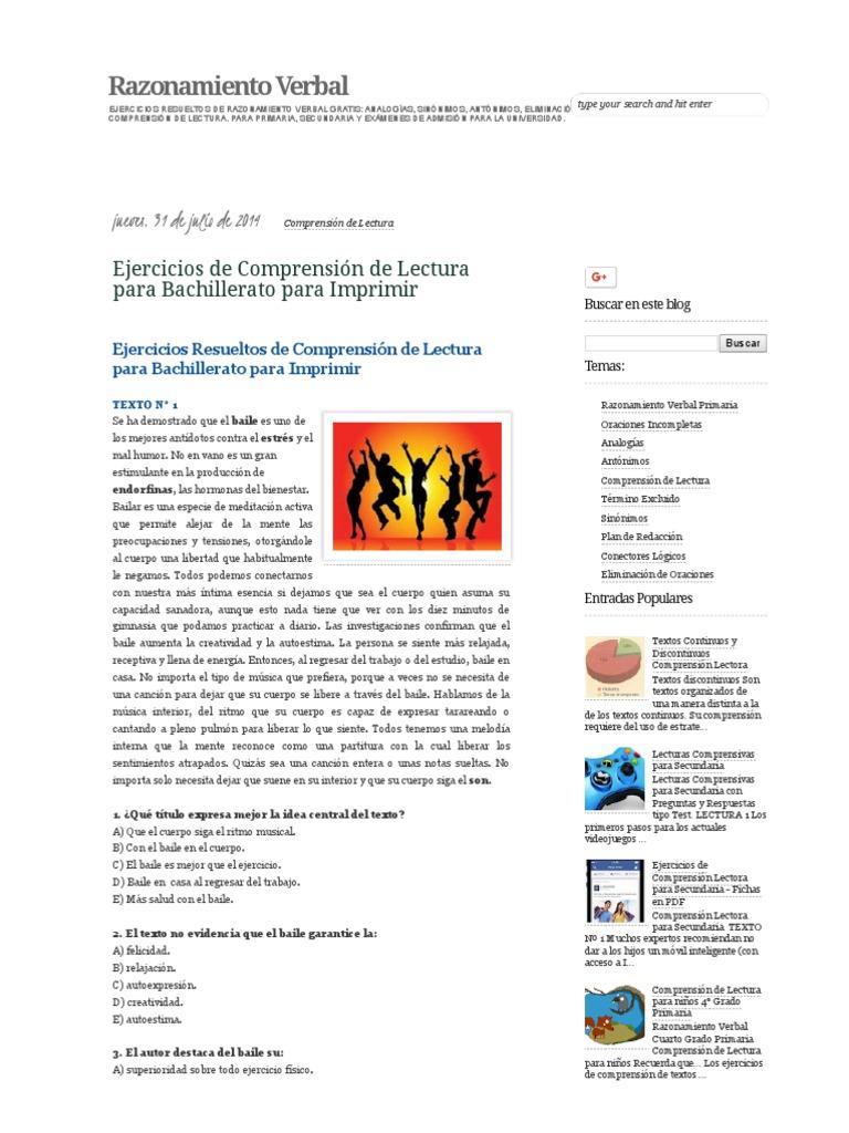 Ejercicios de Comprensión de Lectura Para Bachillerato Para Imprimir ...