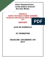 History Mensual Pedro Brin, Patricia Rios, Sofia Corro