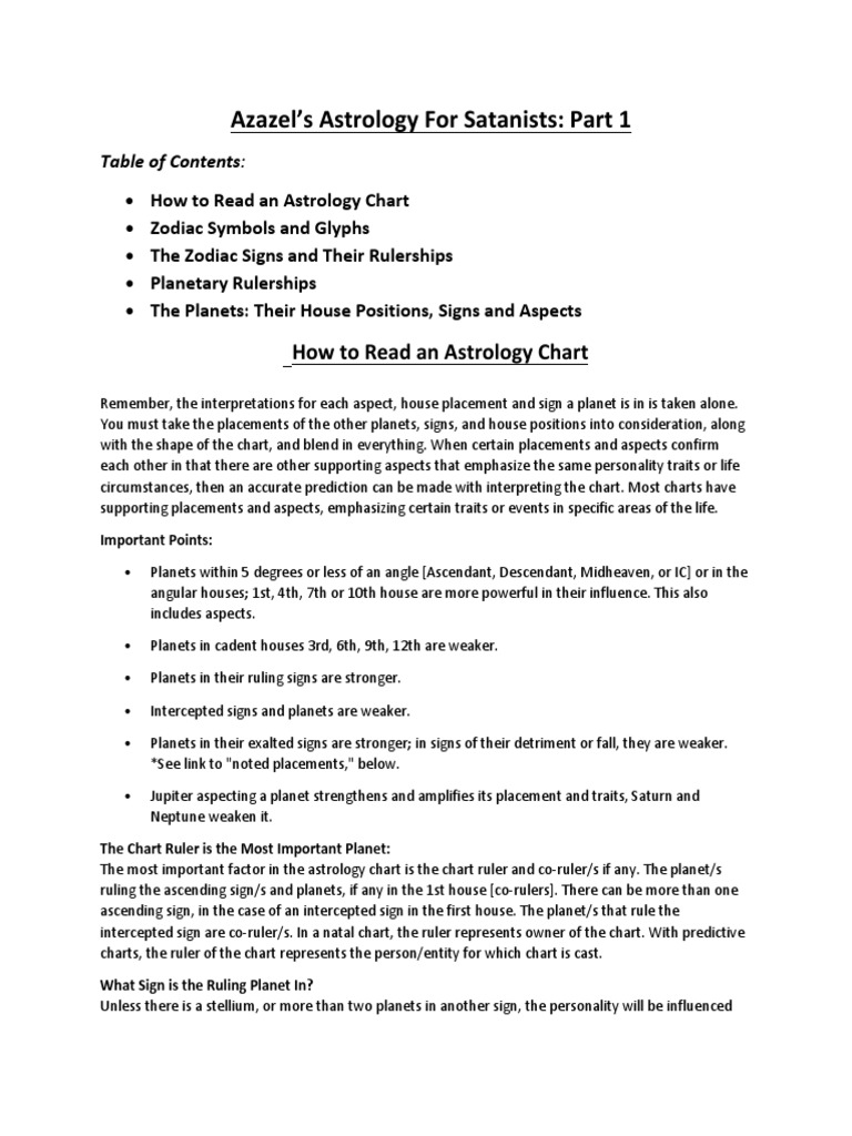 Azazel's Astrology (Part 1)   Astrological Sign   Planets In
