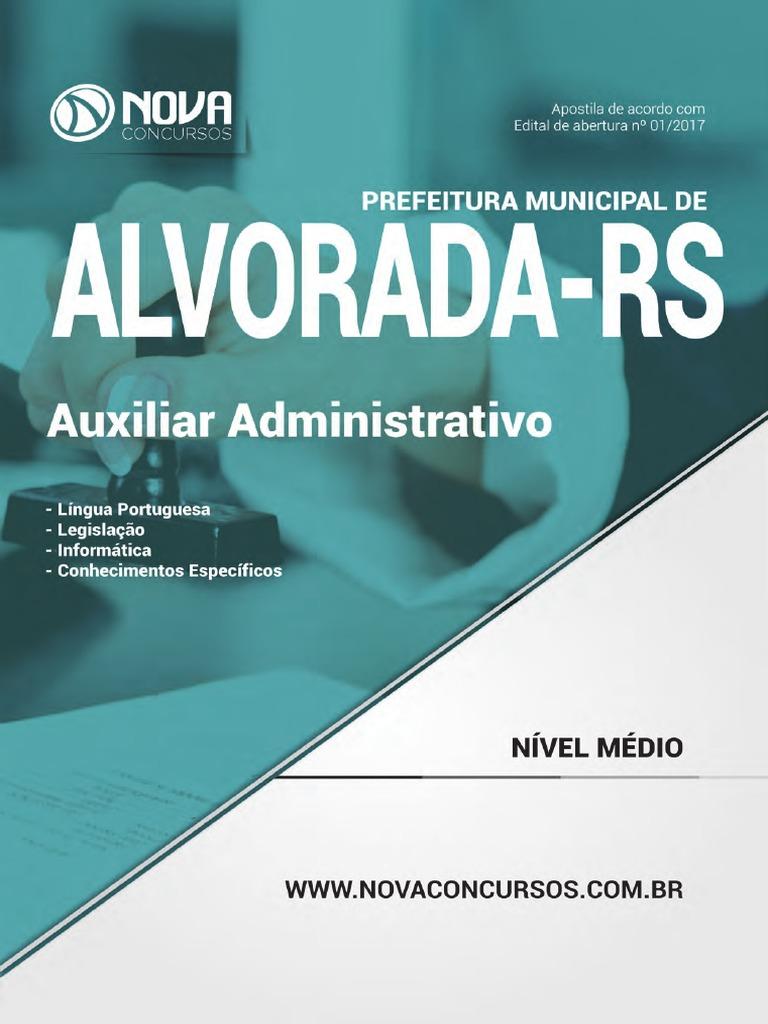 e2201ac38cd39 APOSTILA - Pref de Alvorada - Rs - Auxiliar Administrativo 384 Pgs Capa