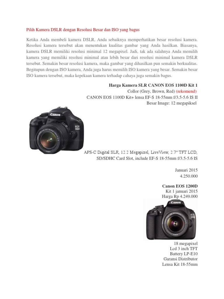 Harga Dan Spesifikasi Canon Rebel T6 Eos Dslr Camera With 18