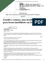 Estádio é Começo, Mas Insuficiente Para Boom Imobiliário Em Itaquera - Morar _ Sobretudo Folha