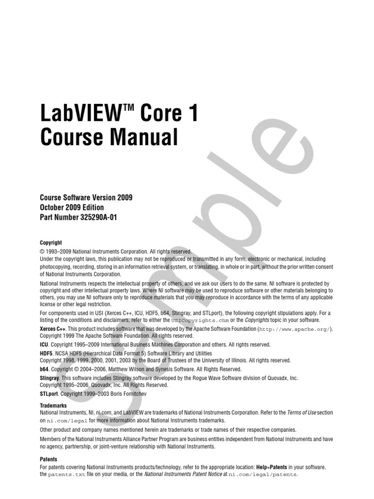 LabVIEW Core 1 Sample Course Manual | Array Data Structure | Array Data Type