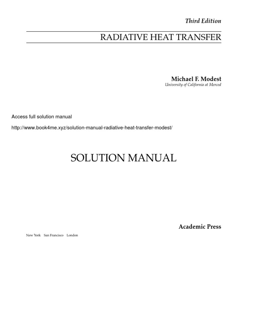 Solution Manual for Radiative Heat Transfer – Michael Modest.pdf | Software  | Digital Technology