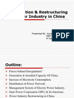 Deregulation & Restructuring of Power Industry in China