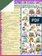 Daily Routines on Schooldays Grammar Drills Picture Description Exercises 74726