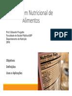 Rotulagem de Alimentos 2016