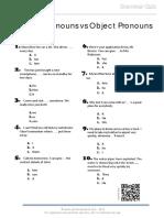 Subject Pronoun vs Object Pronoun Grammar Quiz 0
