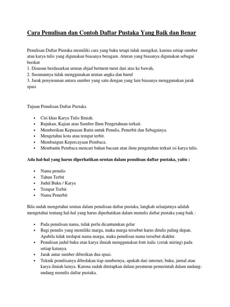 Cara Penulisan Dan Contoh Daftar Pustaka Yang Baik Dan Benar
