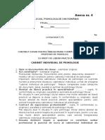 Continut Dosar Inregistrare Cabinet Individual de Psihologie