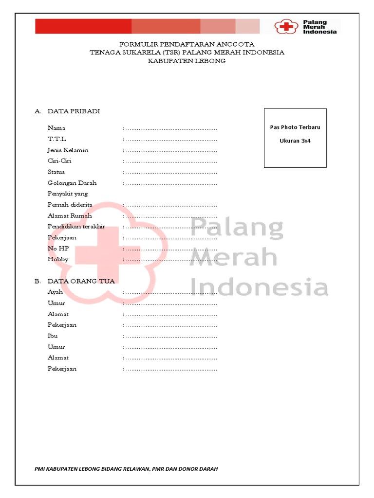 Formulir Pendaftaran Anggota Tsr