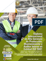 1-Diploma Internacional en Alta Gerencia de Produccion, Mantenimiento y Auditor Interno de Calidad ISO 9001