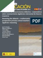 Evaluacion de Conocimientos Didacticomatematicos Sobre Razonamiento Algebraico Elemental de Futuros Maestros