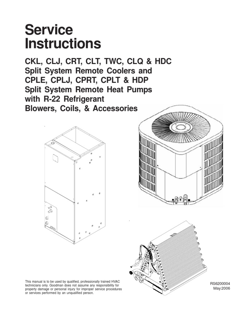 1510037999 goodman) service instructions rs6200004 (181 pages) heat pump  at crackthecode.co
