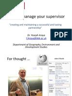 Managing Your Supervisor - Dr Yoseph Araya
