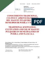 2018 Conocimiento Tradicional, Cultivo y Aprovechamiento Del Maguey