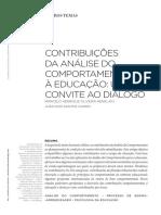 Contribuições Da Análise Do Comportamento à Educação - Um Convite Ao Diálogo