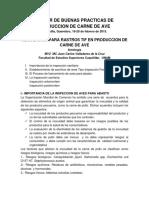 Regulacion Para Rastros Tif Produccion Carne Ave 2015