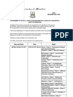 Mumbai University 2010 second half timetable MSC-part 1