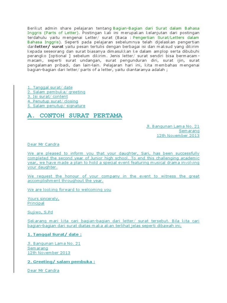 Surat Bahasa Inggris