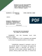 Motion for Writ of Execution- Ejectment - Rainier de Venecia