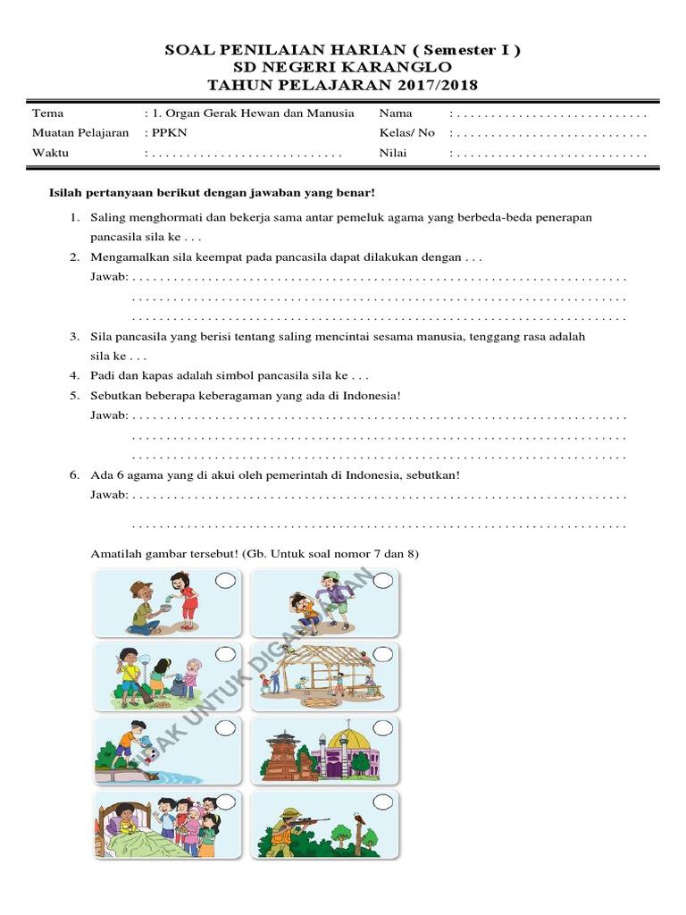 Soal Penilaian Harian Kelas 5 Semester 1 Tema 1 Muatan Ppkn