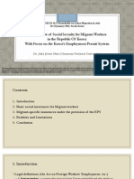 An Overview of Social Security for Migrant Workers in the Republic Of Korea