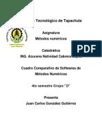 Cuadro Comparativo de Softwares de de Metodos Numericos