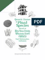 Generic Names of Plant Species Stored at Herbarium Wanariset