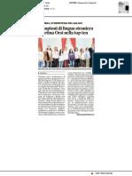 Campioni di lingue straniere, Martina Orsi nella top ten - La Provincia Pavese del 21 febbraio 2018