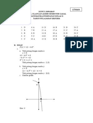 Kunci Jawaban Matematika Peminatan Kelas X