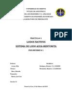 Sistema de Lodo Agua-bentonita (Pre. Nº1-A)