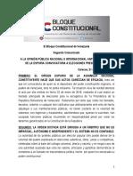 Bloque Constitucional de Venezuela llama a las FANB a no colaborar con el CNE en fraudulento proceso presidencial