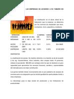 Calsificacion de Las Empresas de Acuerdo a Su Tamaño en Mexico