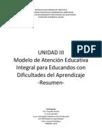 Cuadro Resumen Modelo de Atención Educativa Integral Para Educandos Con Dificultades Del Aprendizaje Venezuela