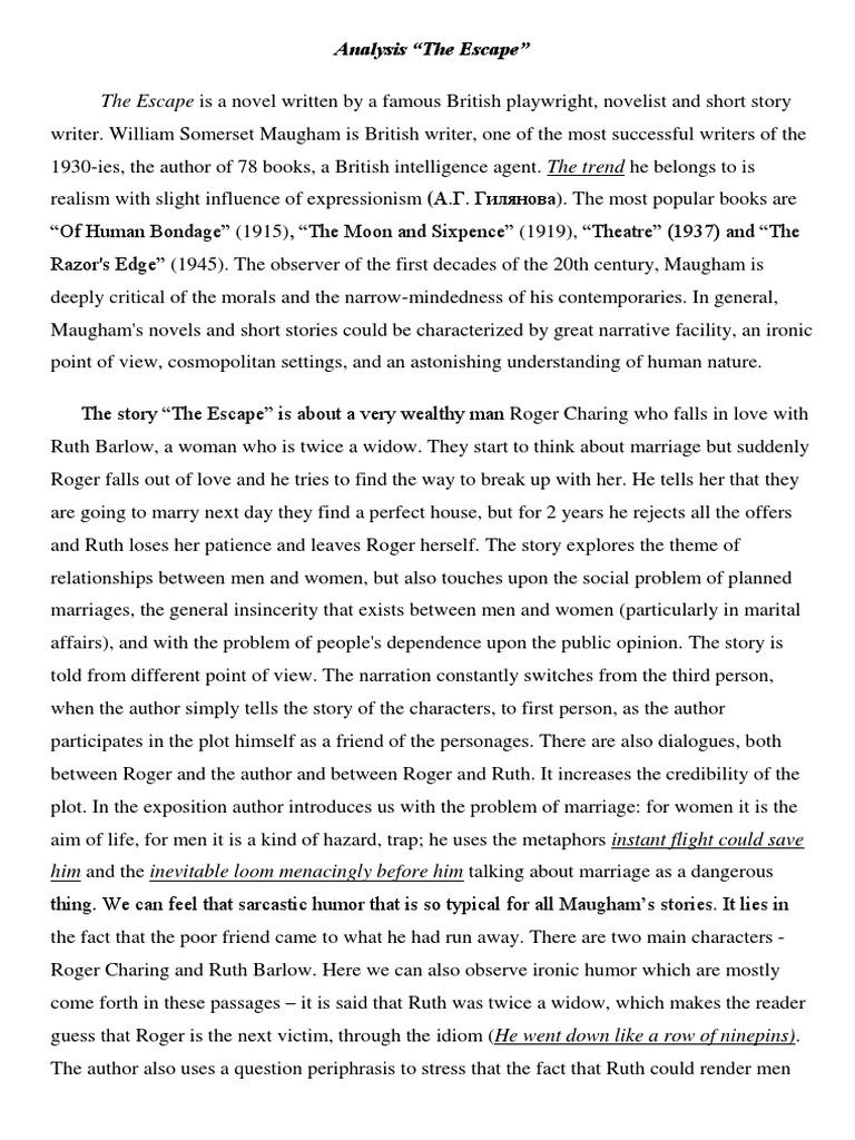 The escape maugham summary wie lange um bachelorarbeit zu schreiben